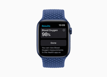 The new Blood Oxygen app on the Apple Watch Series 6. Credit: Apple