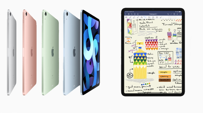 Left: the new iPad Air 4. Right: the 11-inch iPad Pro