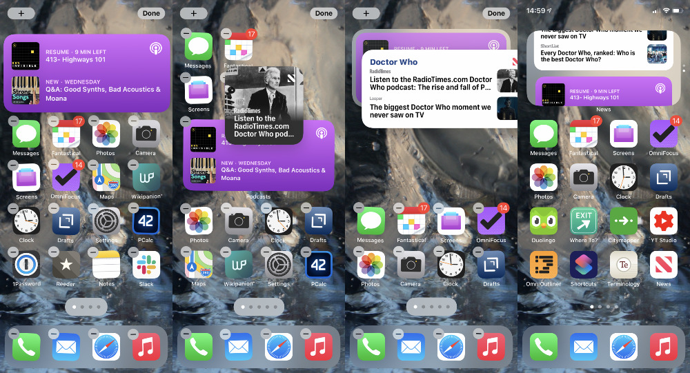 L-R: Edit the home screen. You can't drag two different-shaped widgets on top of each other. You can, though, then swipe between them when they're stacked
