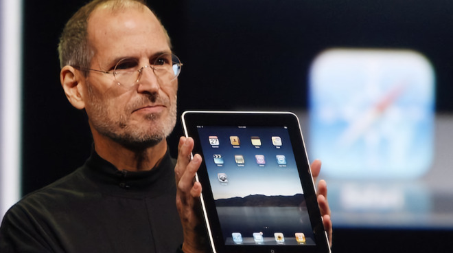 Steve Jobs presenting the original iPad
