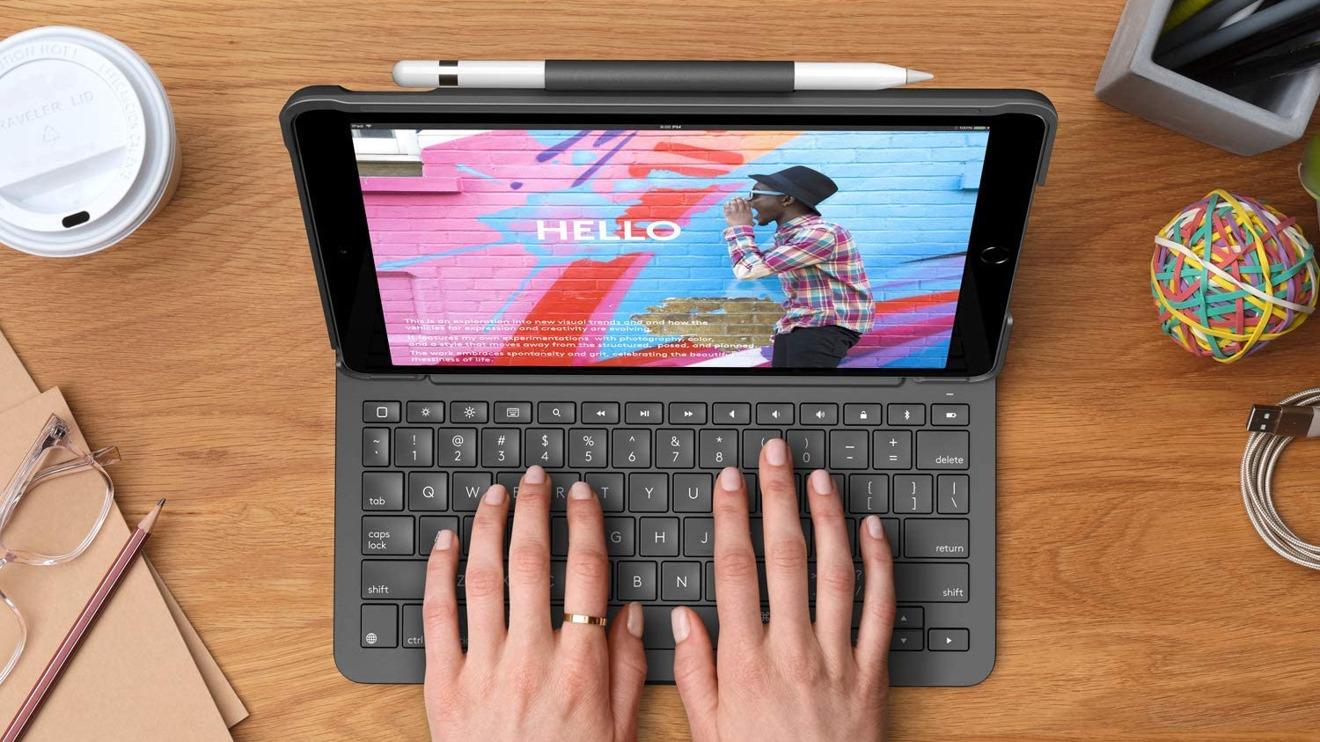 The Logitech Slim Folio case has a built-in keyboard