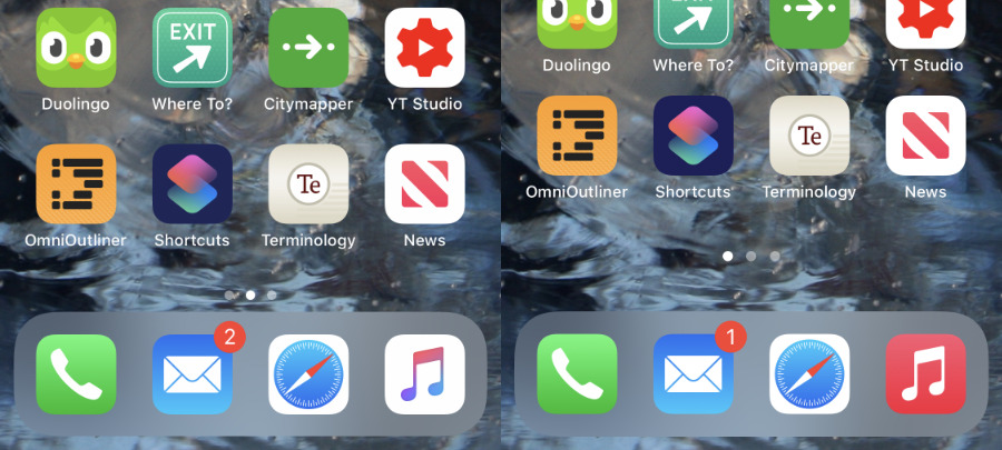 Left: iOS 13. Right: iOS 14. The new iOS has squeezed rows of apps together to give a larger blank spot at the bottom of the screen