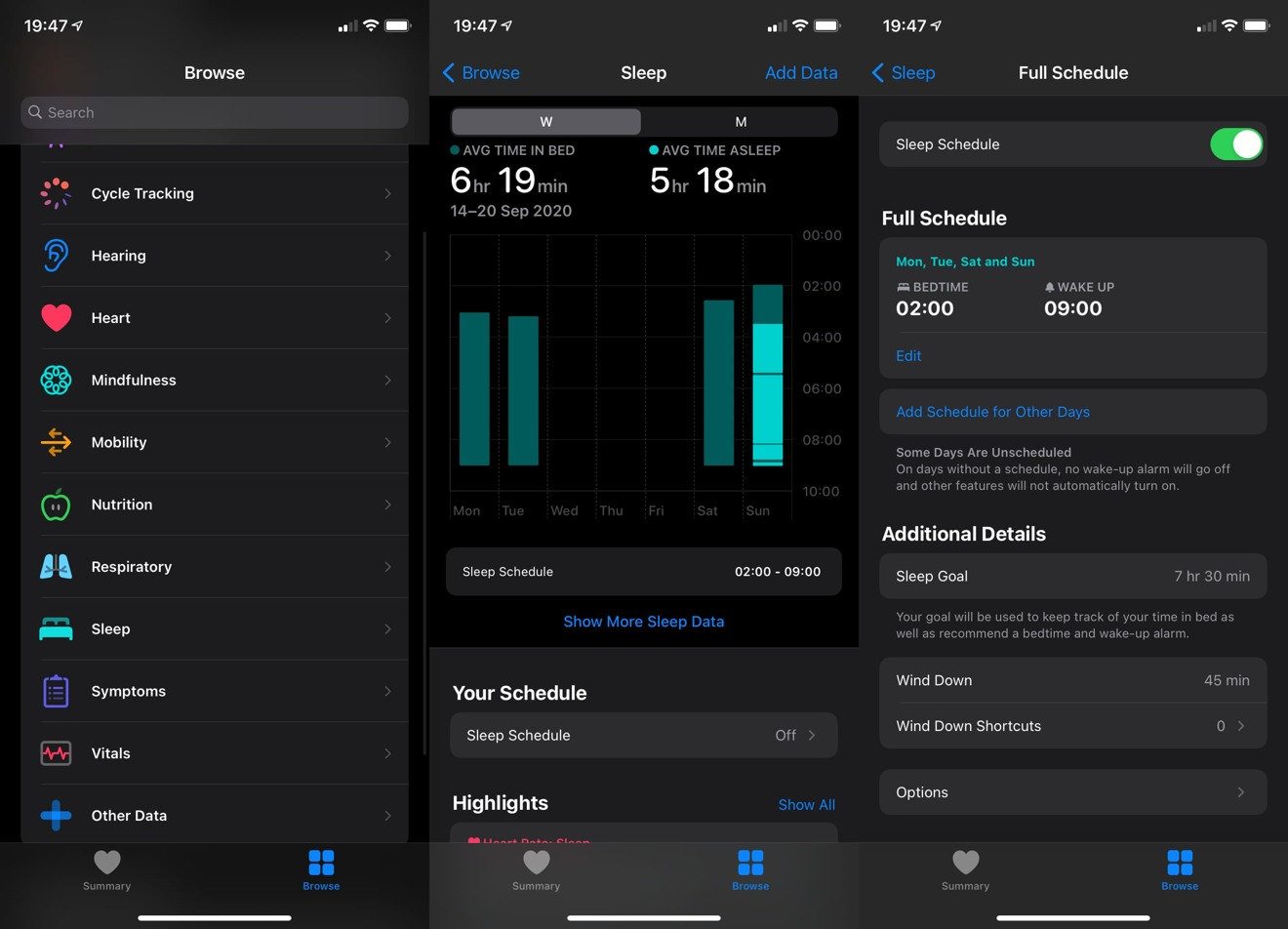It is relatively simple to enable the Sleep Schedule in the Health app in iOS 14