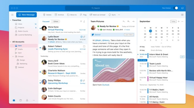 The mail screen in Outlook for Mac now includes My Day
