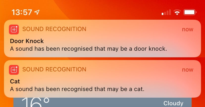 Examples of Sound Recognition alerts