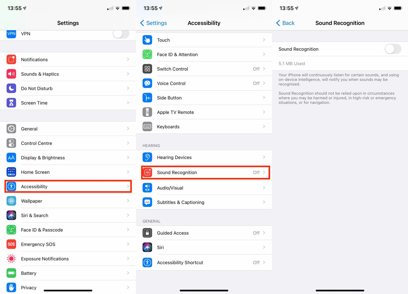 Where to find Sound Recognition in the Settings app.