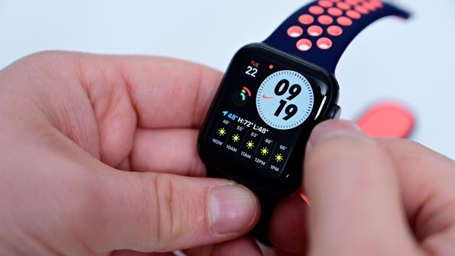 The new Apple Watch Nike-exclusive watch face features a customizable clock and spots for complications. Credit: AppleInsider