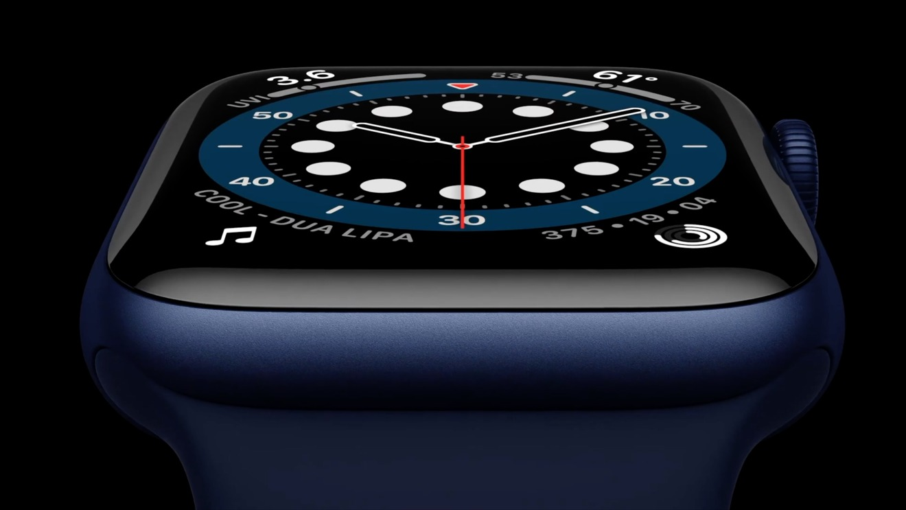 Apple Watch Series 6 in blue with black Solo Loop