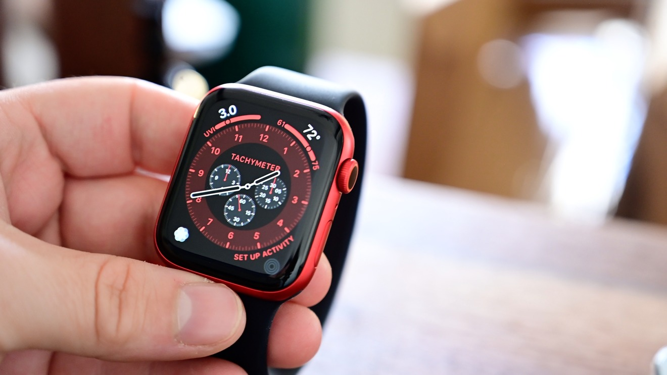 Apple Watch Series 6 in red with black Solo Loop