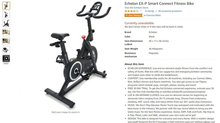 Amazon denies it's developing an exercise bike with Echelon Fitness