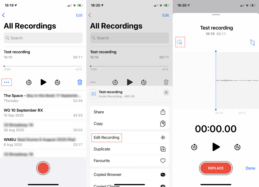 Select a recording, then tap the ellipses. Next tap Edit Recording, and lastly tap the magic wand to turn on enhance recording.