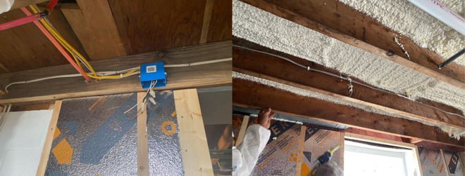 Ceiling eletrical boxes (left) and first round of spray foam insulation on the ceiling (right)