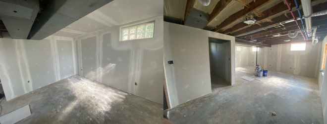 Finishing up the drywall work