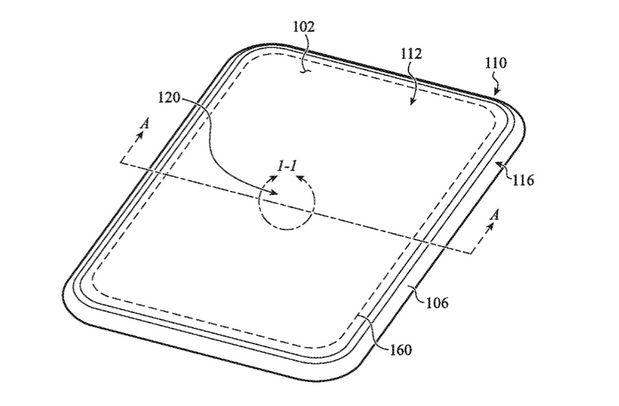 Detail from the patent showing nano-texture glass being used in a portable device