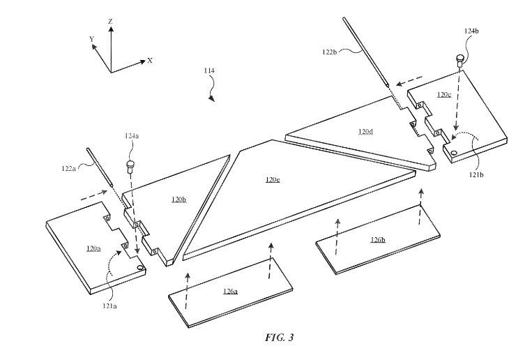The flat hinge mechanism. Credit: Apple/USPTO