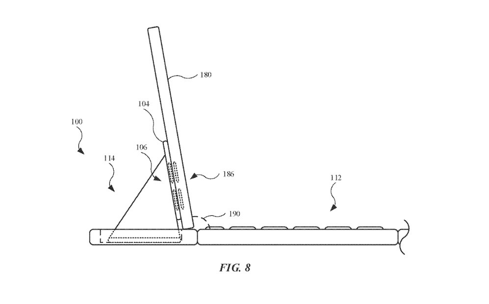 The hinge mechanism holding up an iPad. Credit: Apple/USPTO
