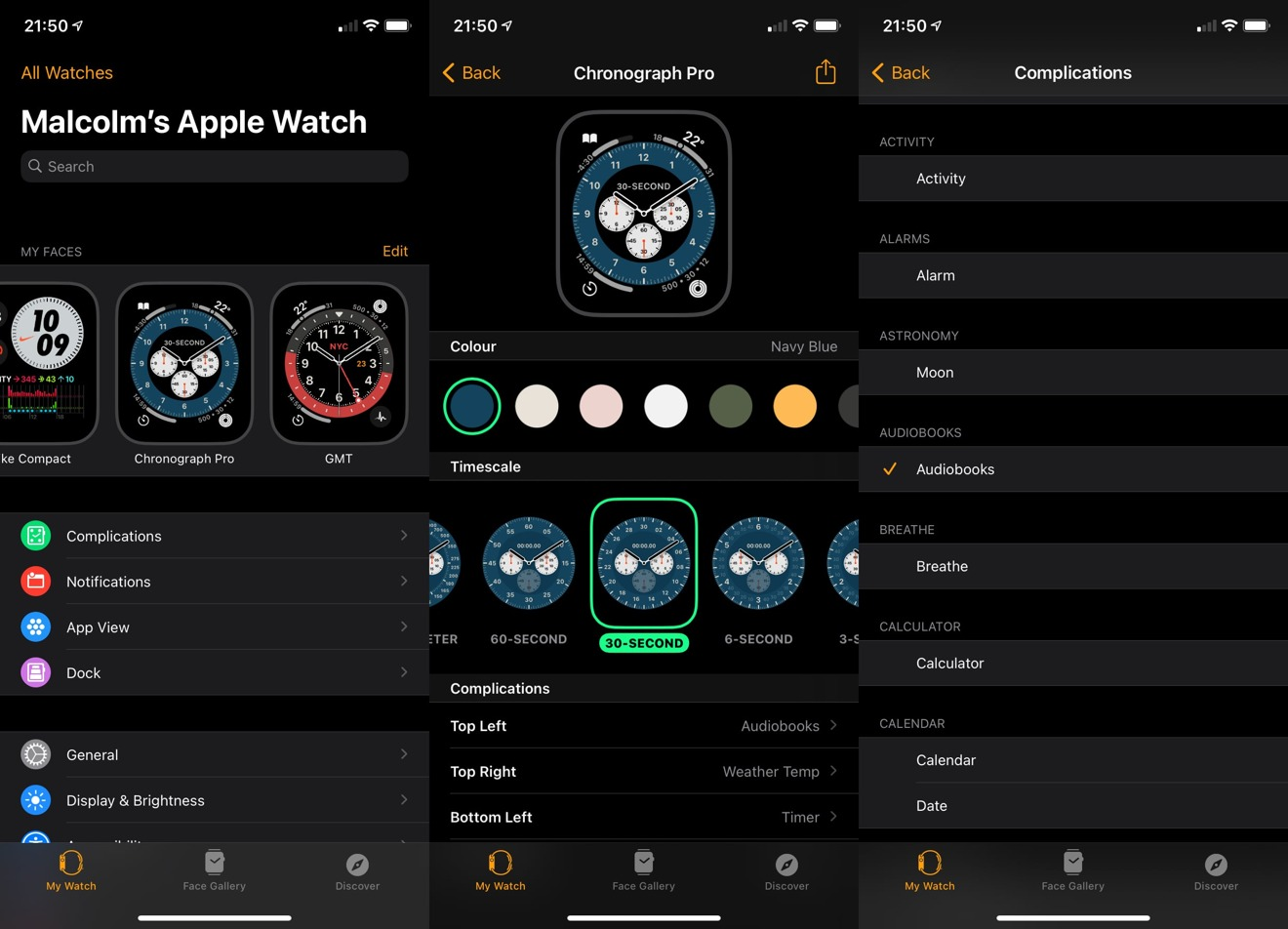 Changing watch face attributes and complications via the iPhone's Watch app.