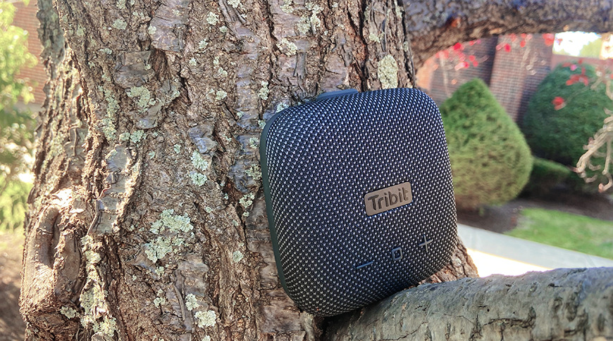 The speaker boasts an IP67 dustproof and water resistance rating, making it a great companion for the great outdoors