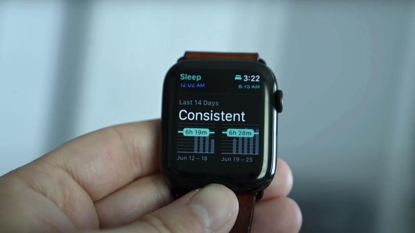 Reviewing sleep data on Apple Watch