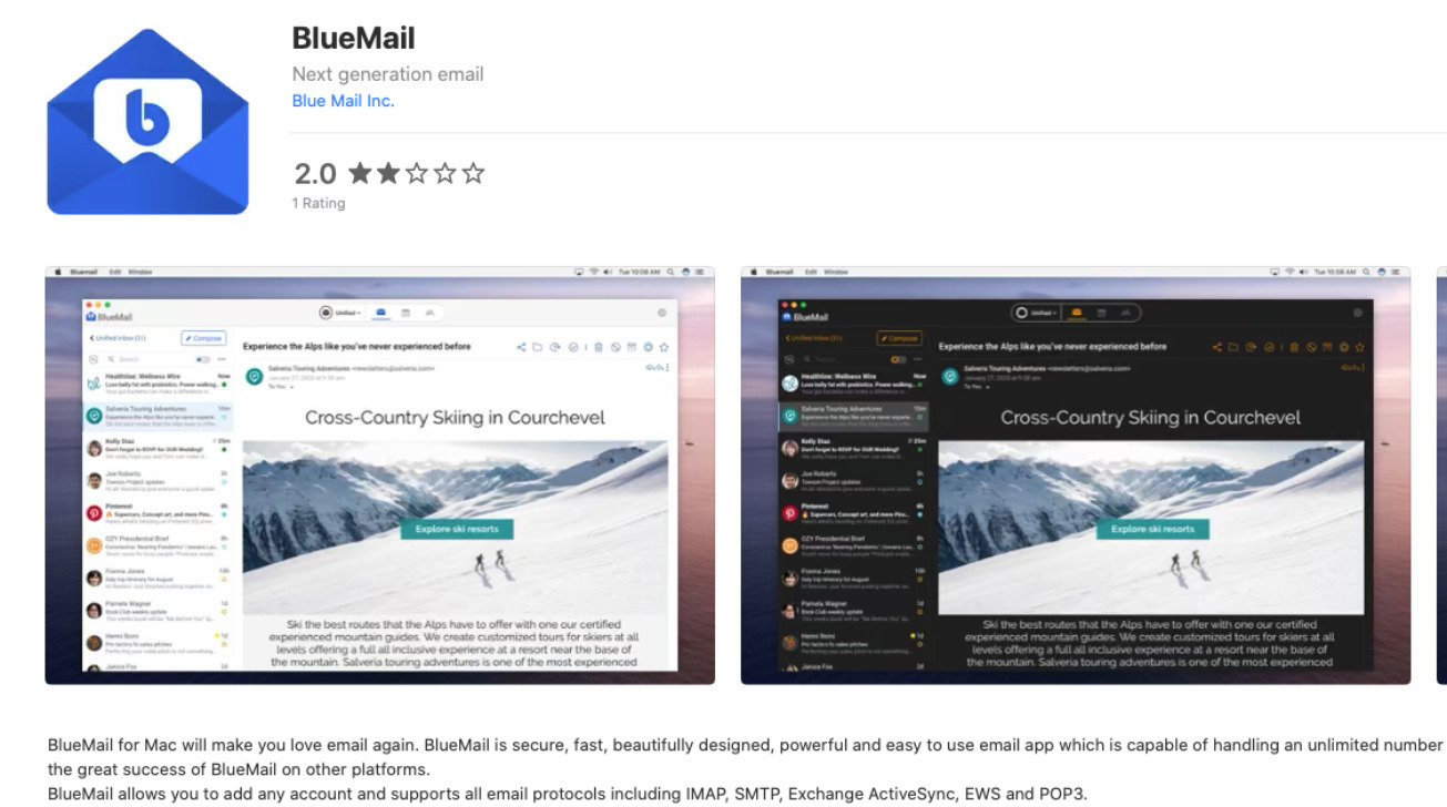 Blix's BlueMail dropped off the Mac App Store for months.