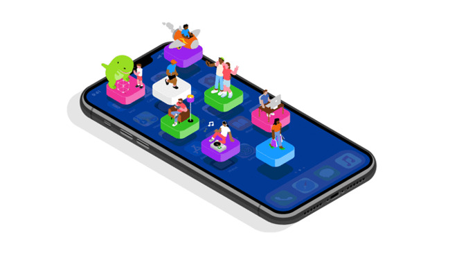 A graphic Apple created to celebrate the tenth anniversary of the App Store in 2018