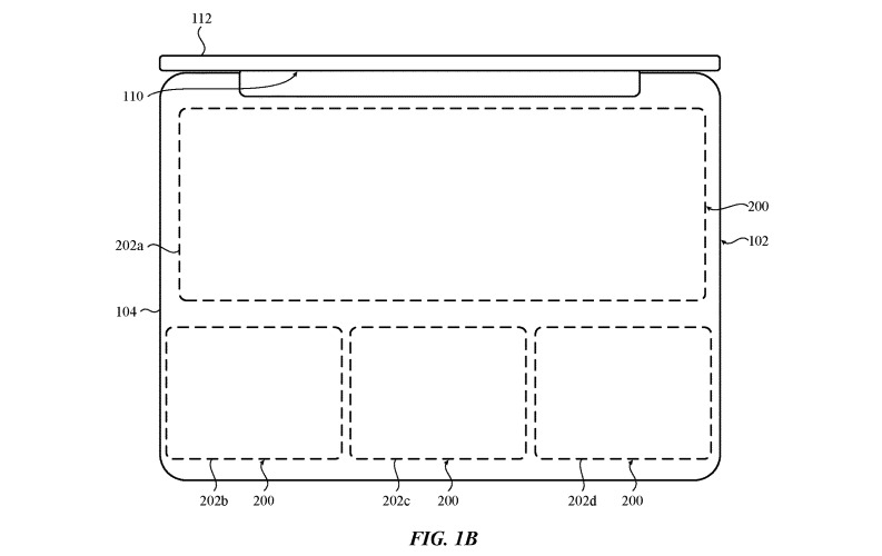 Areas of a MacBook's main surface that could be defined for a keyboard or trackpad.