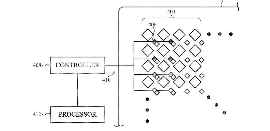 Detail from the patent showing how light sensors might be embedded between the pixels of a display
