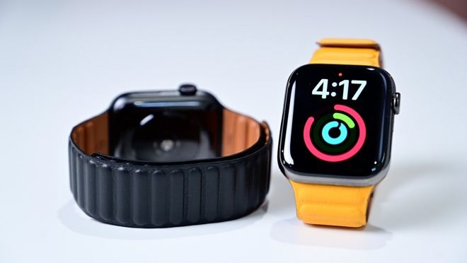 California Poppy and Black Leather Link Bands Back