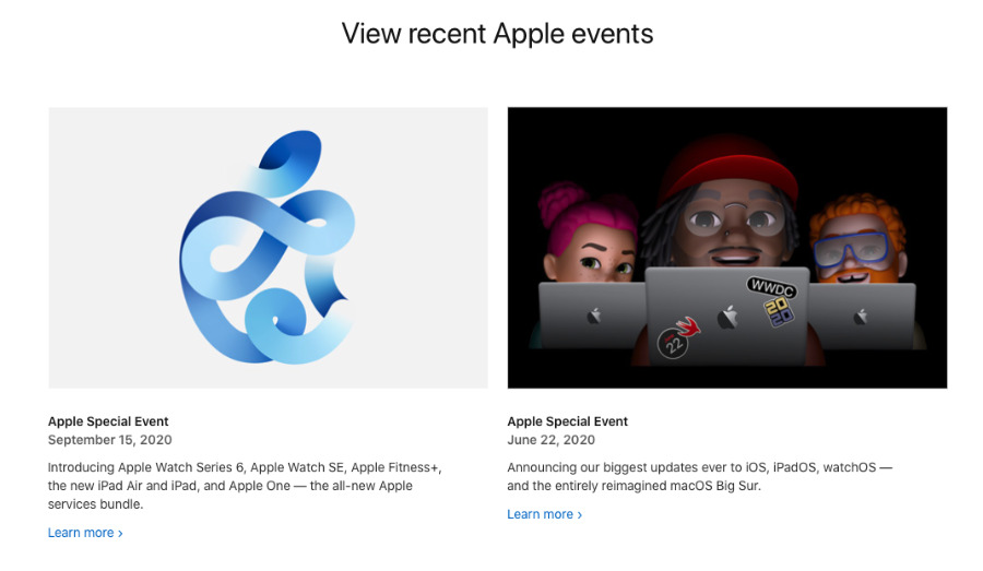 Страница событий Apple