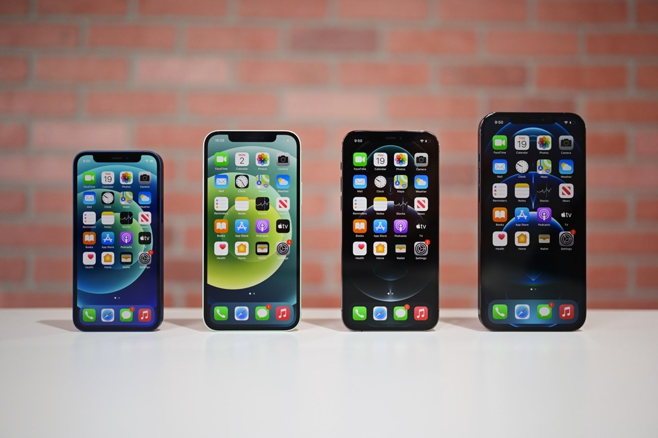 From left to right: iPhone 12 mini, iPhone 12, iPhone 12 Pro, iPhone 12 Pro Max