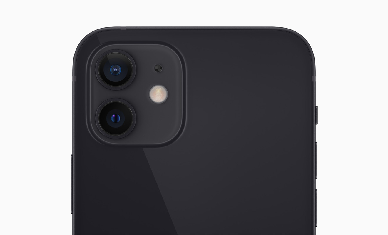 The dual camera system on the back of the iPhone 12 mini.