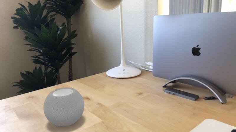 The HomePod mini in AR.