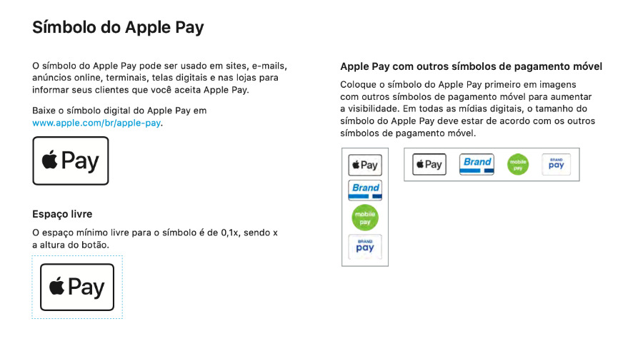 Extract from a design document showing Mexican businesses how to display and use Apple Pay logos