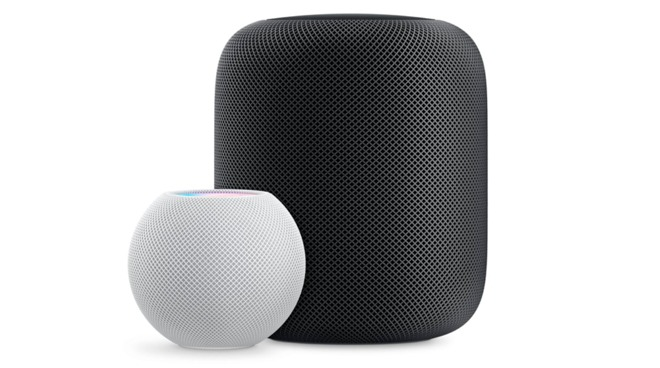 The HomePod mini (left) and the HomePod