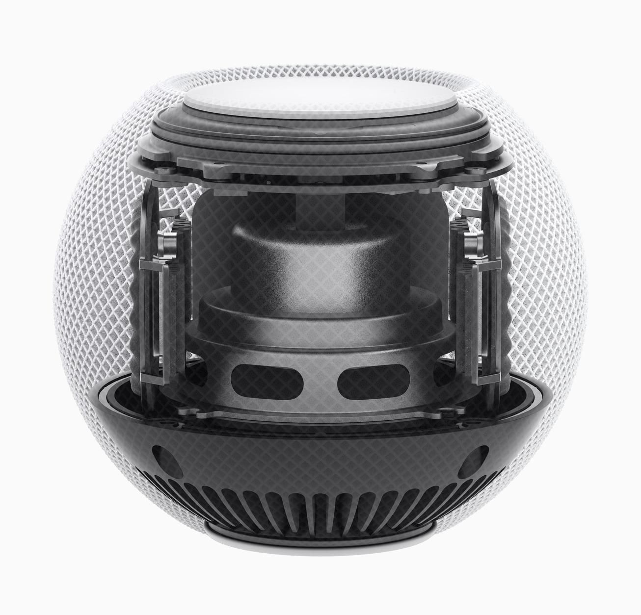 The center drive speaker on the HomePod mini points downwards.