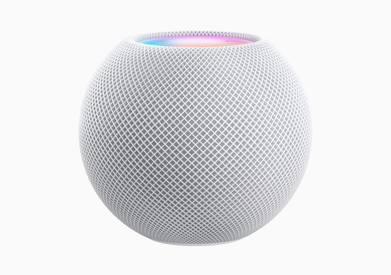The HomePod mini is spherical, with two cutouts for the screen and to stop it rolling away.
