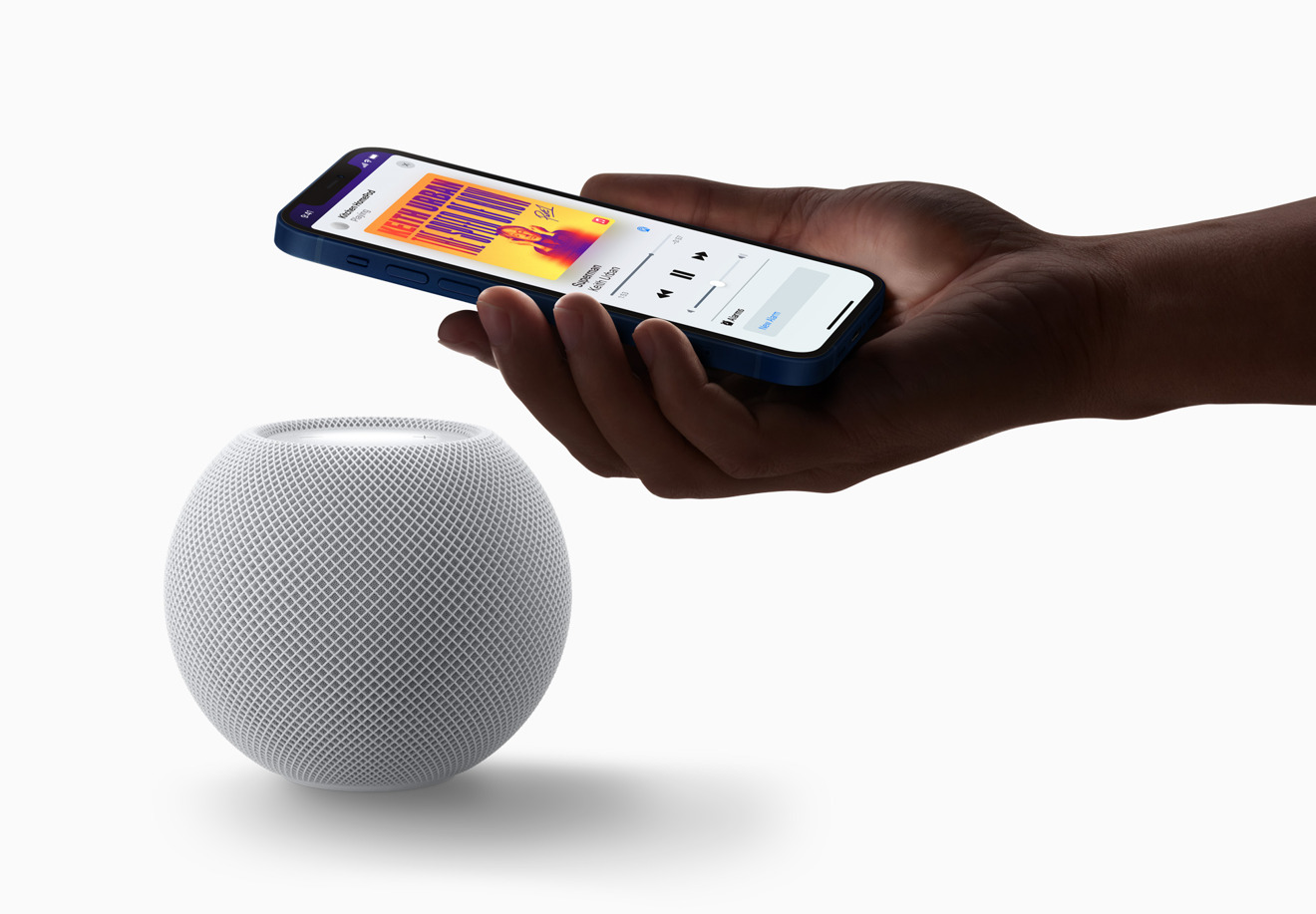 You can still hand off music by moving an iPhone nearby the HomePod mini.