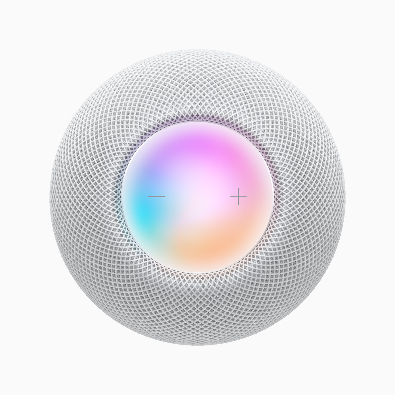 A closer look at the top of the HomePod mini.