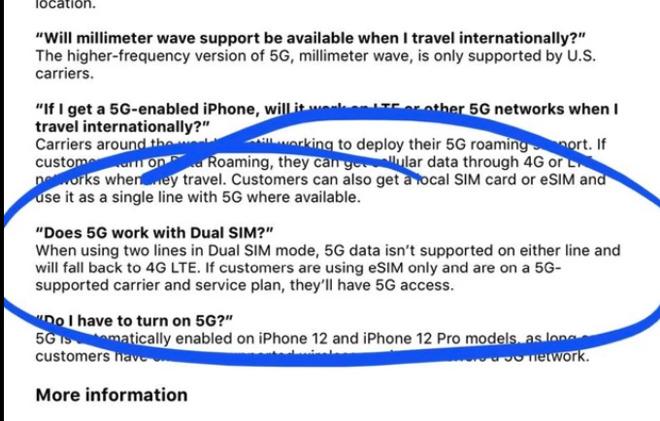 Screenshot of Apple's reported carrier information document (Source: Reddit)