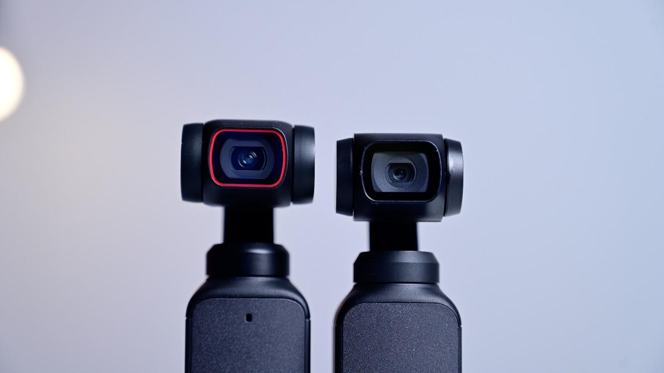 DJI Pocket 2 lens and larger sensor (left) compared to DJI Osmo Pocket (right)