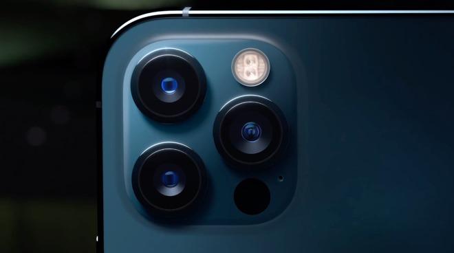 The iPhone 12 Pro camera arrangement, with LiDAR.