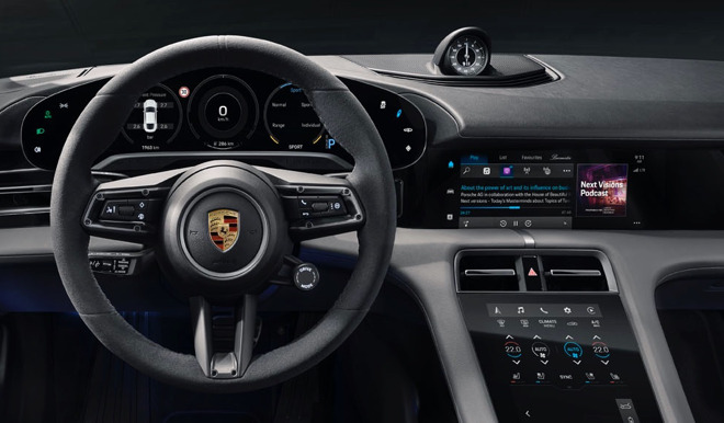 The Porsche Taycan will display podcasts and Apple Music lyrics