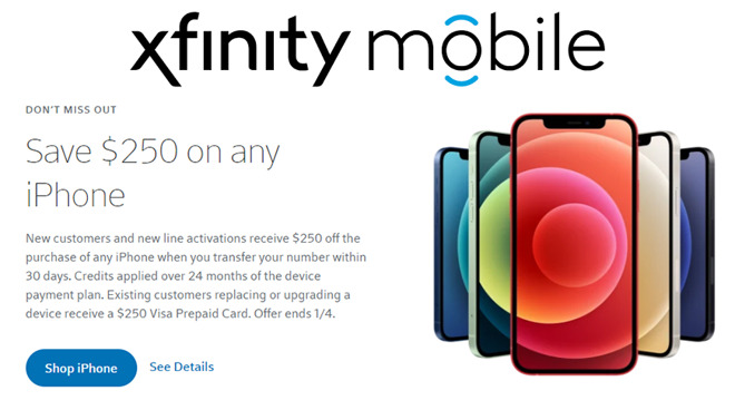 Deals Save 250 On Any Iphone At Xfinity Mobile Including New Iphone 12 And Iphone 12 Pro Appleinsider