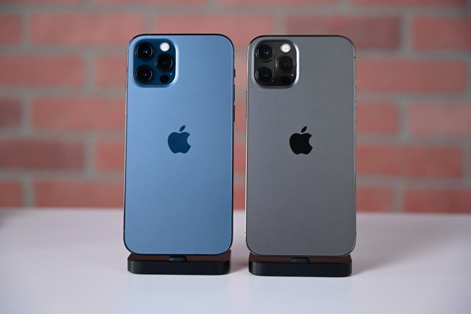 Pacific Blue iPhone 12 Pro and the graphite iPhone 12 Pro