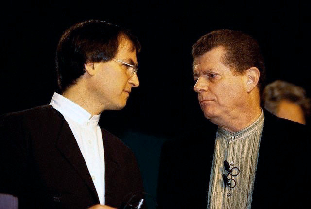 Steve Jobs with his predecessor as CEO, Gil Amelio