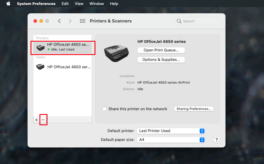Remove the old printer driver and then add your printer again