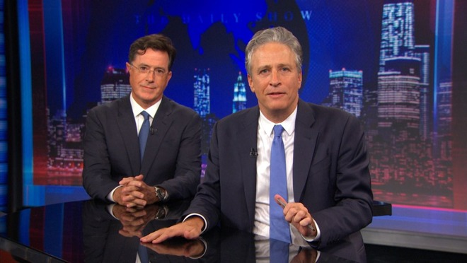 Stephen Colbert (left), with Jon Stewart (right)