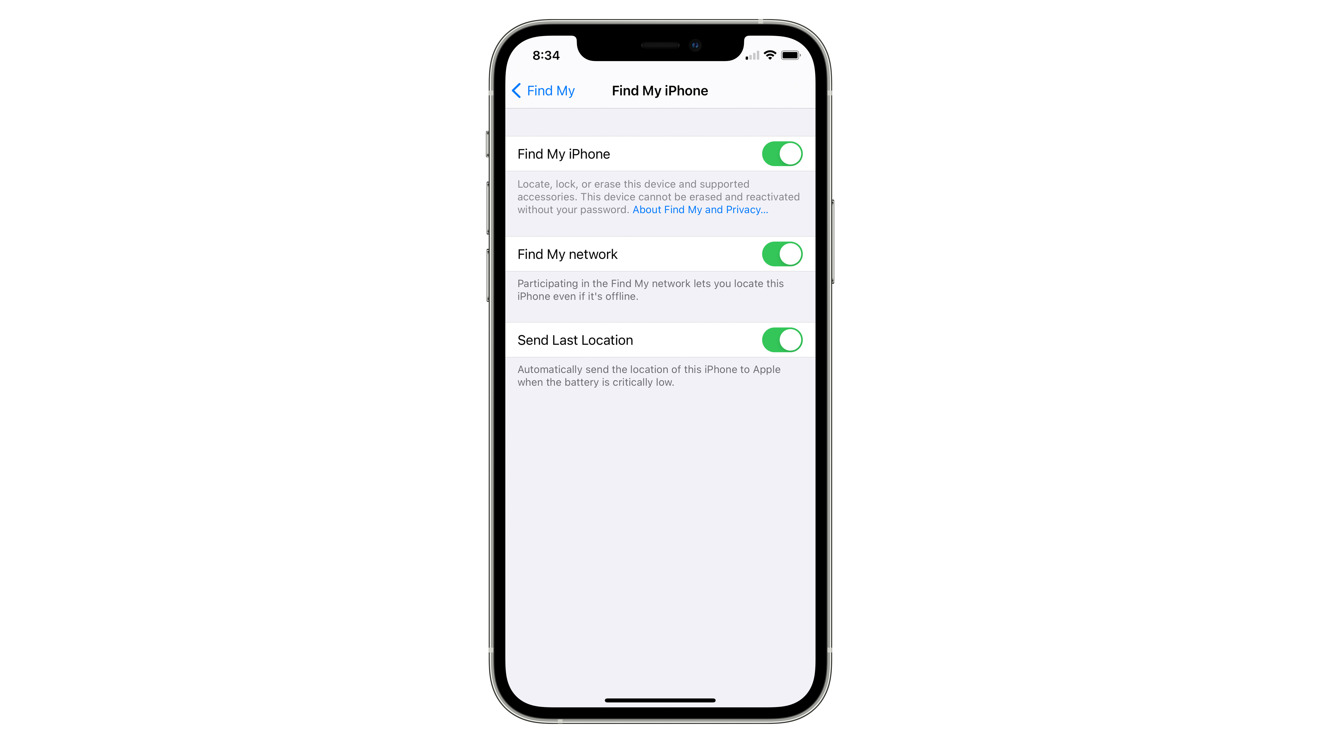 iPhone lost-device settings