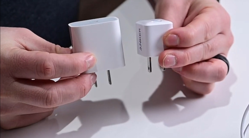 Apple's 20W adapter next to Anker's 20W adapter