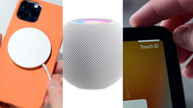 October 2020 L-R: iPhone 12 Pro with Magsafe; HomePod mini; iPad Air with Touch ID
